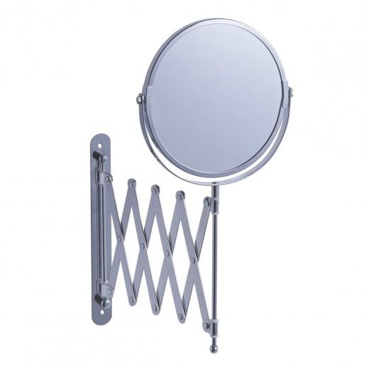 Oglinda cosmetica de perete, extensibila, Metal Cromat, Ø17xl9-45xH37 cm