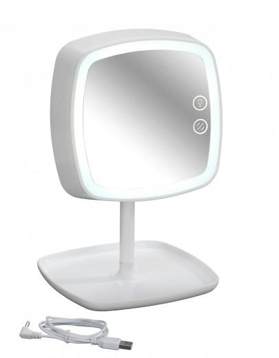 Oglinda cosmetica tactila cu lampa LED din plastic, cablu USB, Ostia Alb, L19xl18xH29 cm