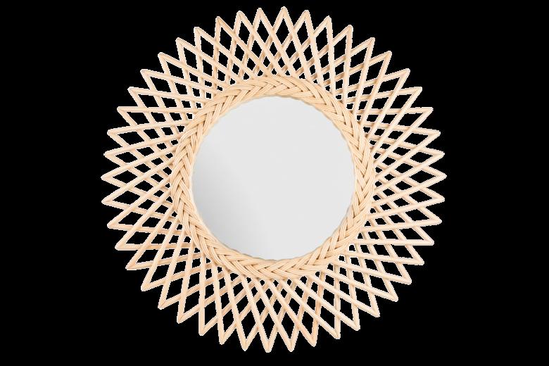 Oglinda cu rama din rattan Flower, Ø 60 cm