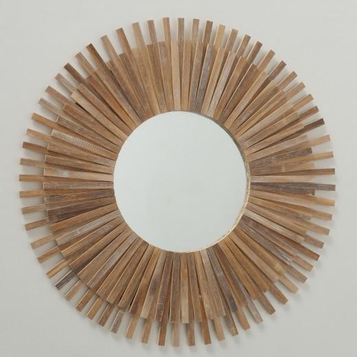 Oglinda decorativa cu rama din bambus Akira Natural, Ø75 cm