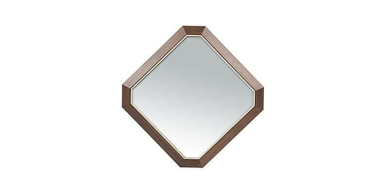 Oglinda decorativa cu rama din MDF si pal Logan Medium Nuc, l59,6xH59,6 cm