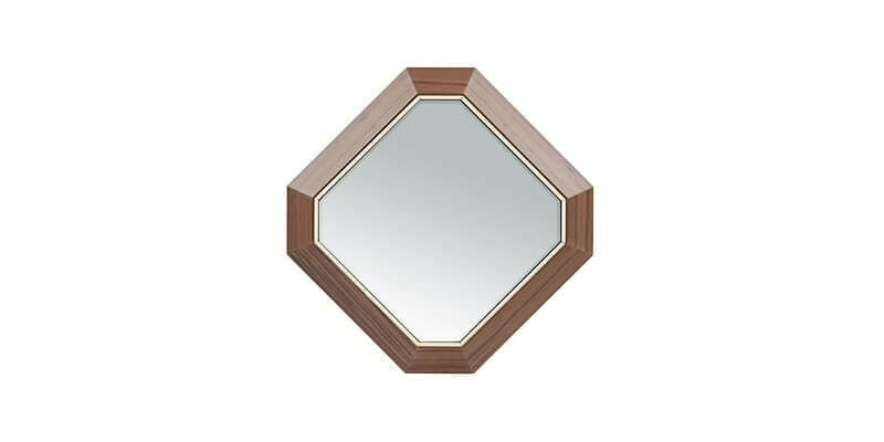 Oglinda decorativa cu rama din MDF si pal Logan Small Nuc, l44,5xH44,5 cm