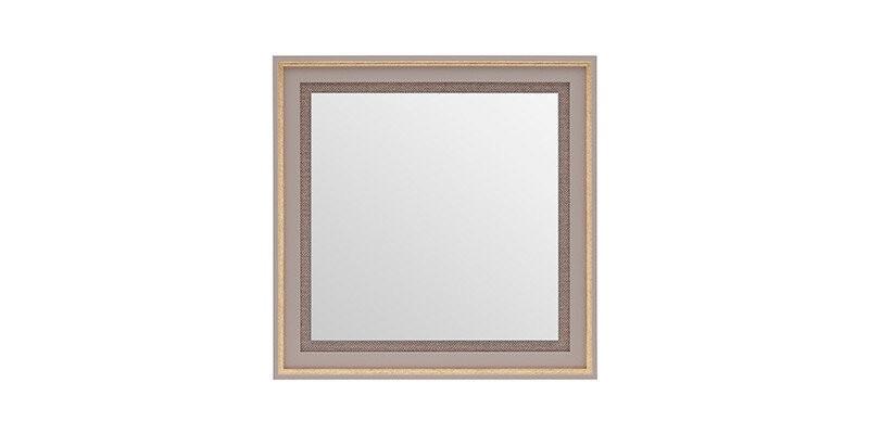 Oglinda decorativa cu rama din pal Hector Square Gri / Auriu, l60xH60 cm