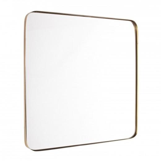 Oglinda decorativa cu rama metalica Adhira Auriu, L60xl60 cm