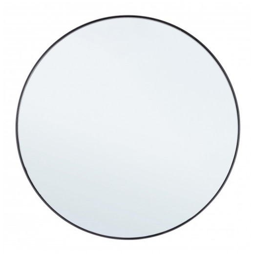 Oglinda decorativa cu rama metalica Nucleos Negru, Ø70 cm