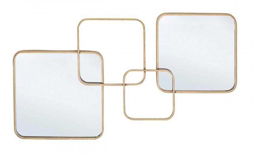 Oglinda decorativa cu rama metalica Oralie Auriu, L70xl40 cm