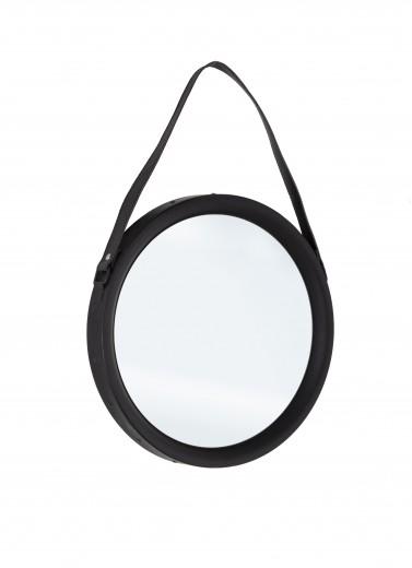 Oglinda decorativa cu rama metalica Rind Round Small Negru, Ø44 cm
