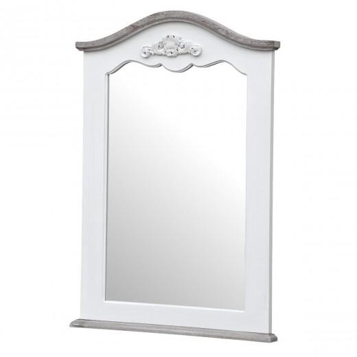 Oglinda decorativa din lemn de plop si MDF, Rimini White RI053W