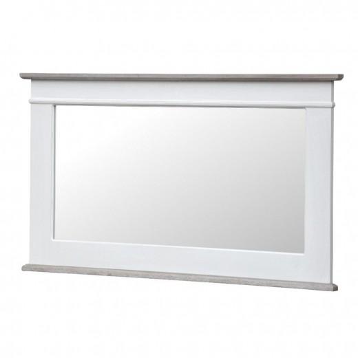 Oglinda decorativa din lemn de plop si MDF, Rimini White RI054W