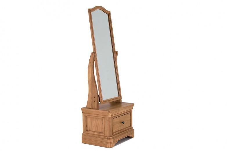 Oglinda decorativa din lemn de stejar si furnir, cu 1 sertar Carmen Oak, l60xA42,5xH175 cm