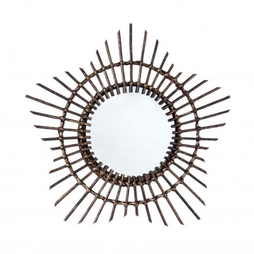 Oglinda decorativa din lemn Gibson Round Maro inchis, Ø55 cm