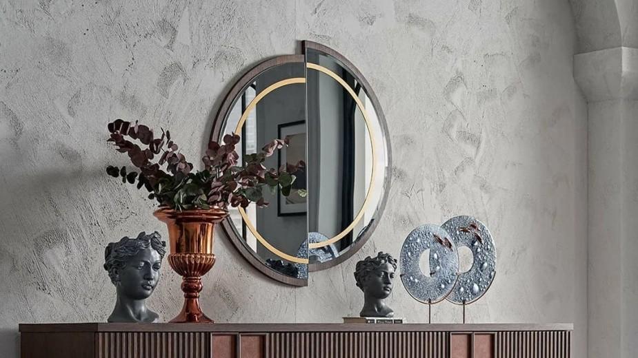 Oglinda decorativa din pal Matilda Nuc / Auriu, l90xH90 cm