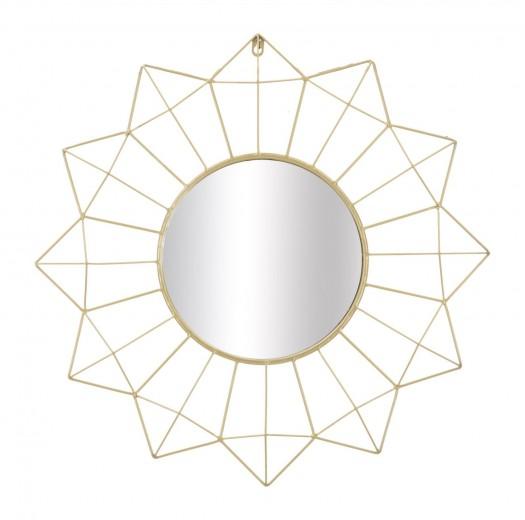 Oglinda decorativa din metal Star Auriu, Ø60 cm