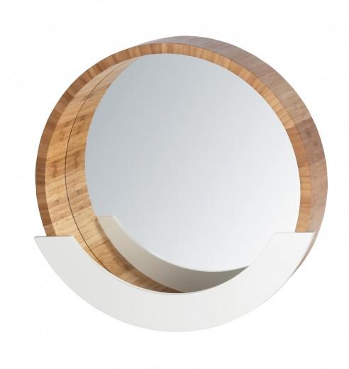 Oglinda pentru baie cu etajera, cu rama din bambus si MDF, Finja Natural / Alb, Ø39xA9,5xH38 cm
