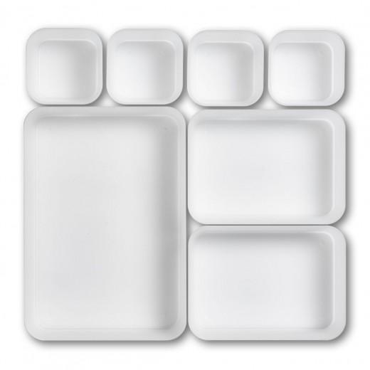 Organizator accesorii de birou, din plastic, Tray Transparent, 7 compartimente individuale