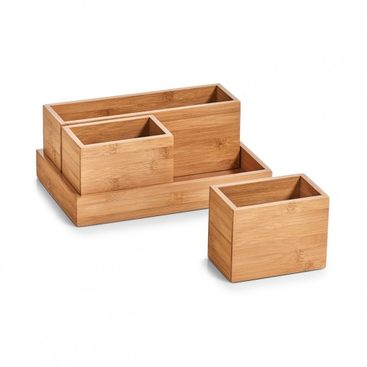 Set Organizator pentru accesorii de birou, Bamboo, 4 piese, l28xA17,7xH11 cm