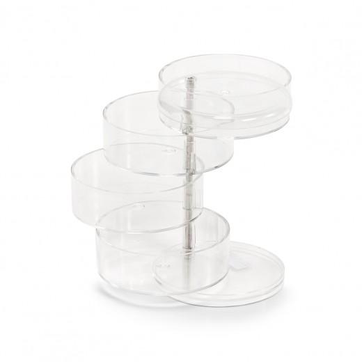 Organizator pentru bijuterii din plastic, Transparent, 4 compartimente, Ø 11,5xH17,6 cm
