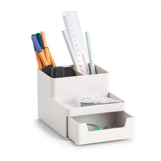 Organizator pentru birou, din plastic, Free Alb, l15,5xA11,2xH9,5 cm