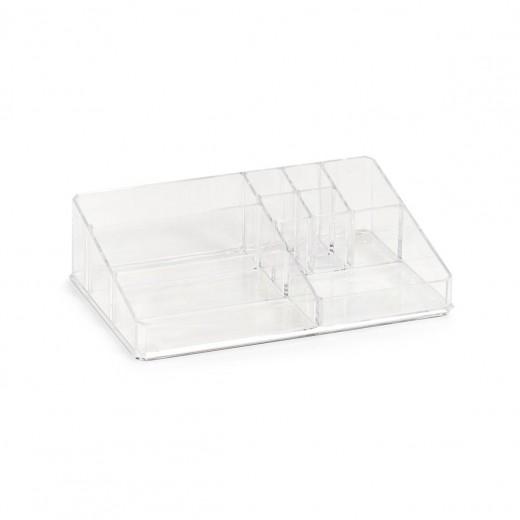 Organizator pentru cosmetice din plastic, Transparent, 9 compartimente, l32xA21xH9 cm