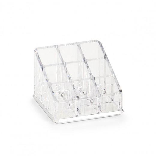 Organizator pentru cosmetice din plastic, Transparent, 9 compartimente, l9xA9xH6,5 cm