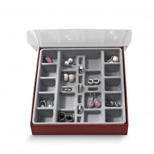 Organizator pentru sertar cu 27 compartimente, Jewel Gri, l18,5xA21,5xH3,5 cm
