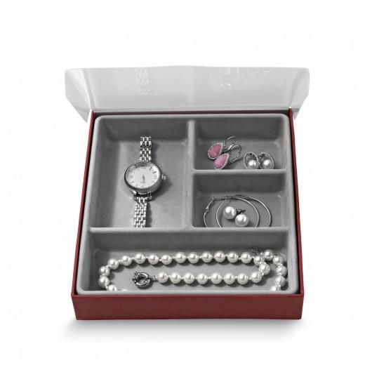 Organizator pentru sertar cu 4 compartimente, Jewel Gri, l18,5xA21,5xH3,5 cm