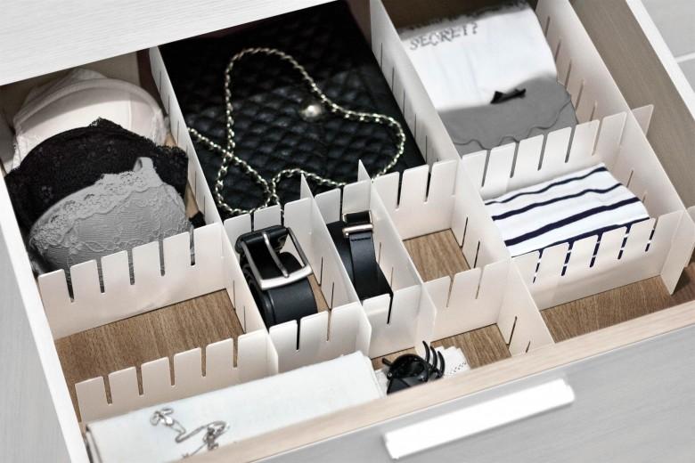 Organizator sertare, compartimentare diversa, 8 piese, Barre Alb, L40xH8 cm