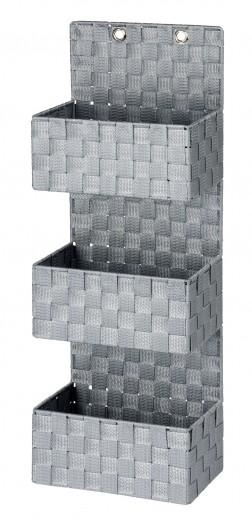 Organizator suspendat din polipropilena, cu 3 compartimente, Adria Gri, l25xA15,5xH72 cm