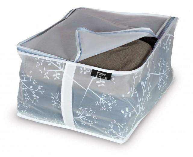 Organizator textil pliabil cu fermoar, Coper Transparent / Gri, L40xl30xH20 cm