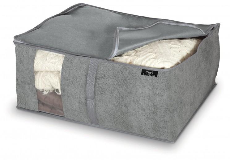 Organizator textil pliabil cu fermoar, Stone L Gri, L55xl45xH25 cm
