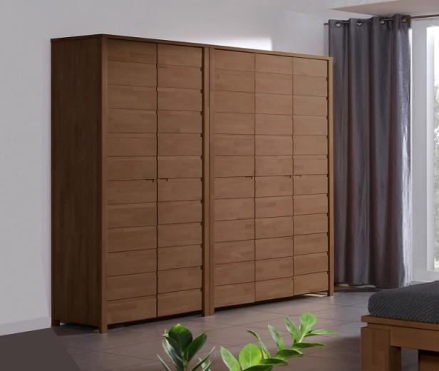 Dulap din lemn masiv de fag Vinci 600 2D nuc, l100xA60xH212 cm