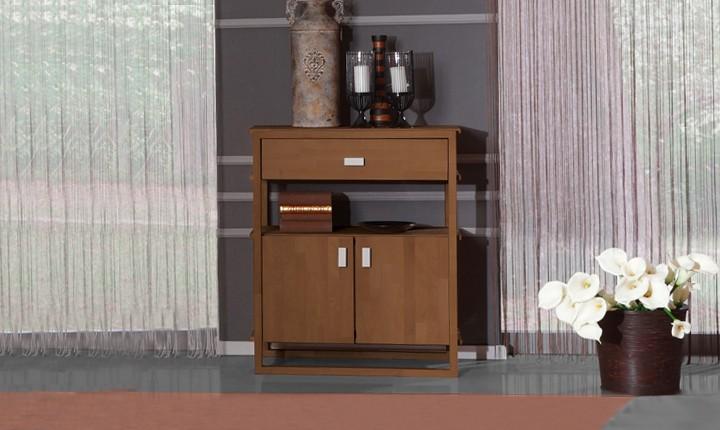 Dulap din lemn masiv de fag Minimal 850 1S2D nuc, l85xA45xH100 cm