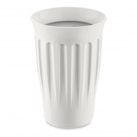 Pahar cu capac, din termoplastic Click To - Go Alb / Gri, 350 ml, Ø9,3xH13,6 cm