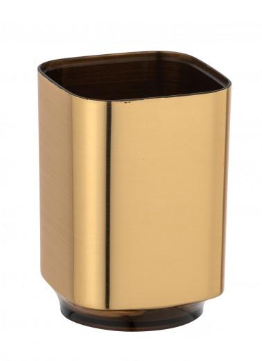 Pahar din plastic pentru periuta de dinti, Auron Auriu, L7xl7xH10 cm