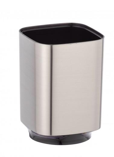 Pahar din plastic pentru periuta de dinti, Auron Crom, L7xl7xH10 cm