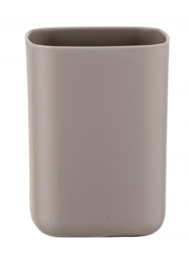 Pahar pentru periuta de dinti, din termoplastic, Barcelona Taupe, L7xl7xH10 cm