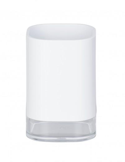 Pahar pentru periuta de dinti, din acril Oria Alb, L7,5xl7,5xH11,5 cm