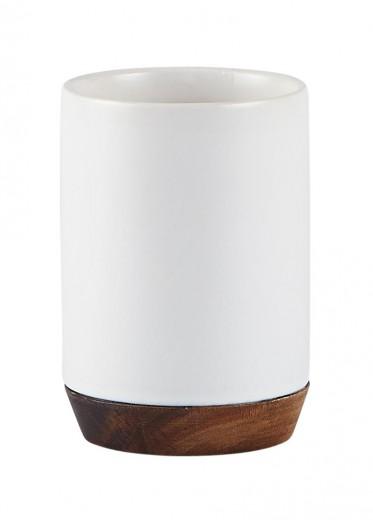 Pahar pentru periuta de dinti din ceramica, 300 ml, Kj-Alb