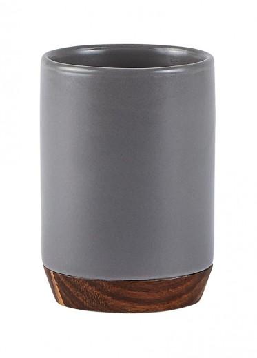 Pahar pentru periuta de dinti din ceramica, 300 ml, Kj-Gri