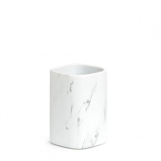 Pahar pentru periuta de dinti, din ceramica, Marble Alb, L7,5xl7,5xH10,9 cm