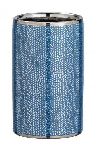 Pahar pentru periuta de dinti, din ceramica Nuria Argintiu / Albastru, Ø6,5xH10,7 cm
