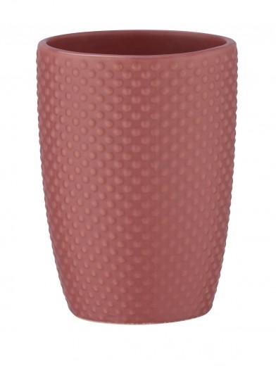 Pahar pentru periuta de dinti, din ceramica, Punto Roz Inchis, Ø8xH11 cm