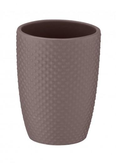 Pahar pentru periuta de dinti, din ceramica, Punto Taupe, Ø8xH11 cm