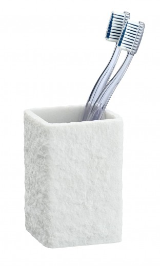 Pahar pentru periuta de dinti, din polirasina, Villata Alb, L7,5xl7,5xH11 cm