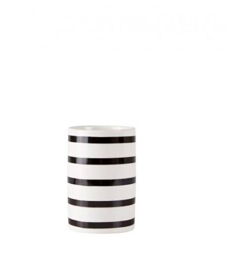 Pahar pentru periuta din ceramica Black / White, Kj