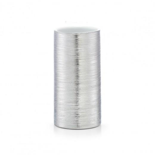 Pahar pentru periuta din ceramica, Brushed Silver, Ø 7xH13,5 cm