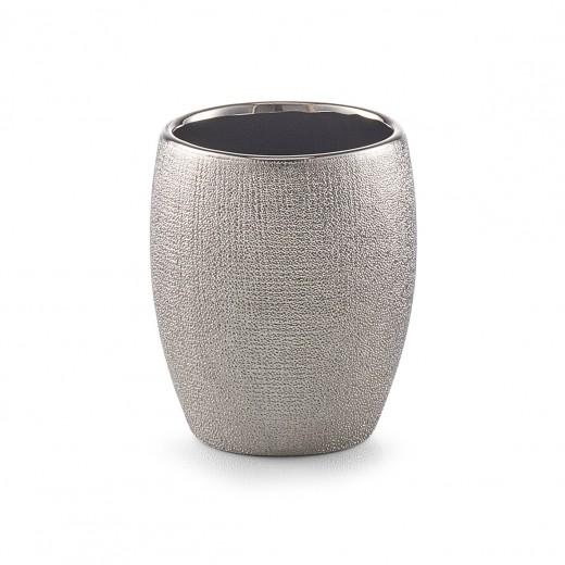 Pahar pentru periuta din ceramica, Glitter Silver, Ø 8,1xH9,8 cm