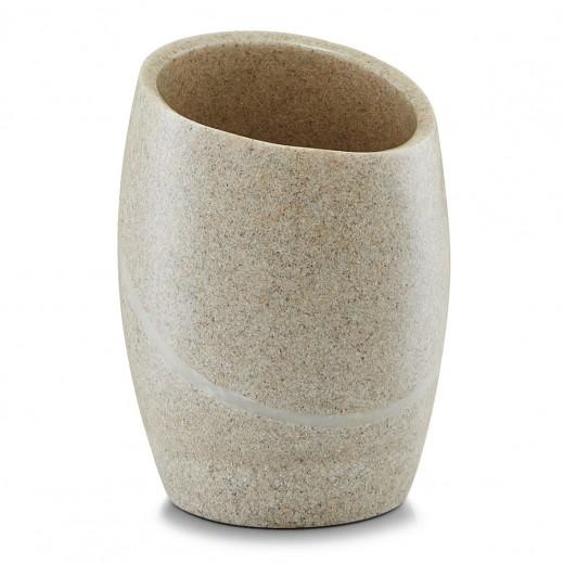 Pahar pentru periuta din polirasina, Stonefinish Beige, l8,4xA8,4xH11 cm