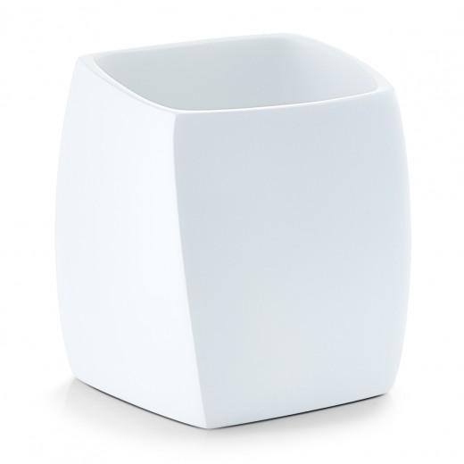 Pahar pentru periuta din polirasina, Twisted White, l8xA8xH8,8 cm