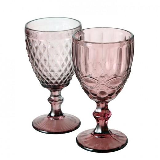 Pahar pentru vin, din sticla Aurora Roz inchis, Modele Asortate, Ø9xH17 cm